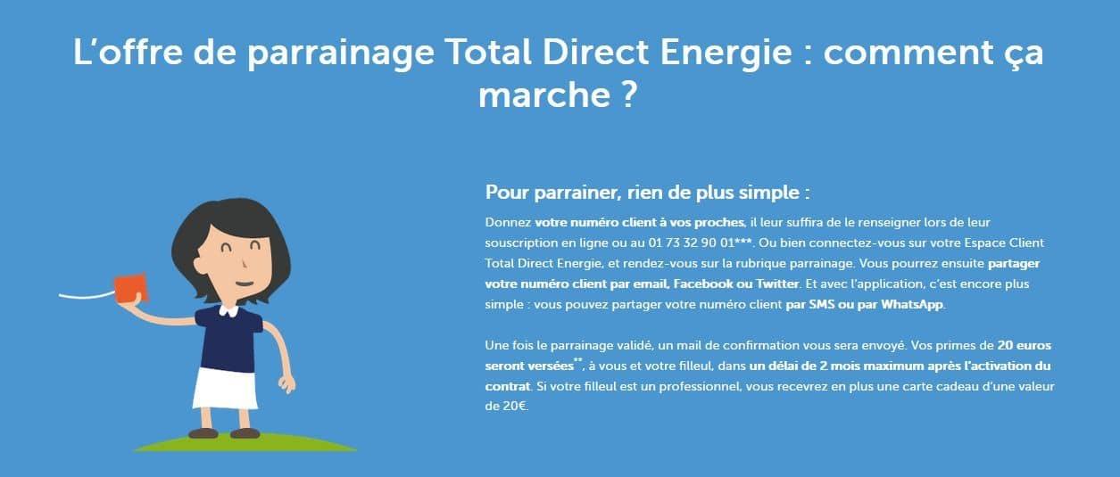 20 euros avec le code parrainage total direct énergie