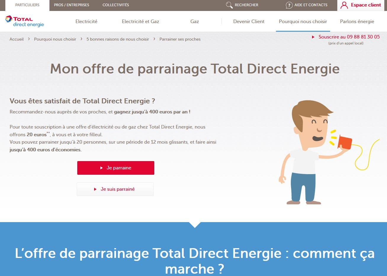 présentation de l'offre de parrainage de total direct-energie