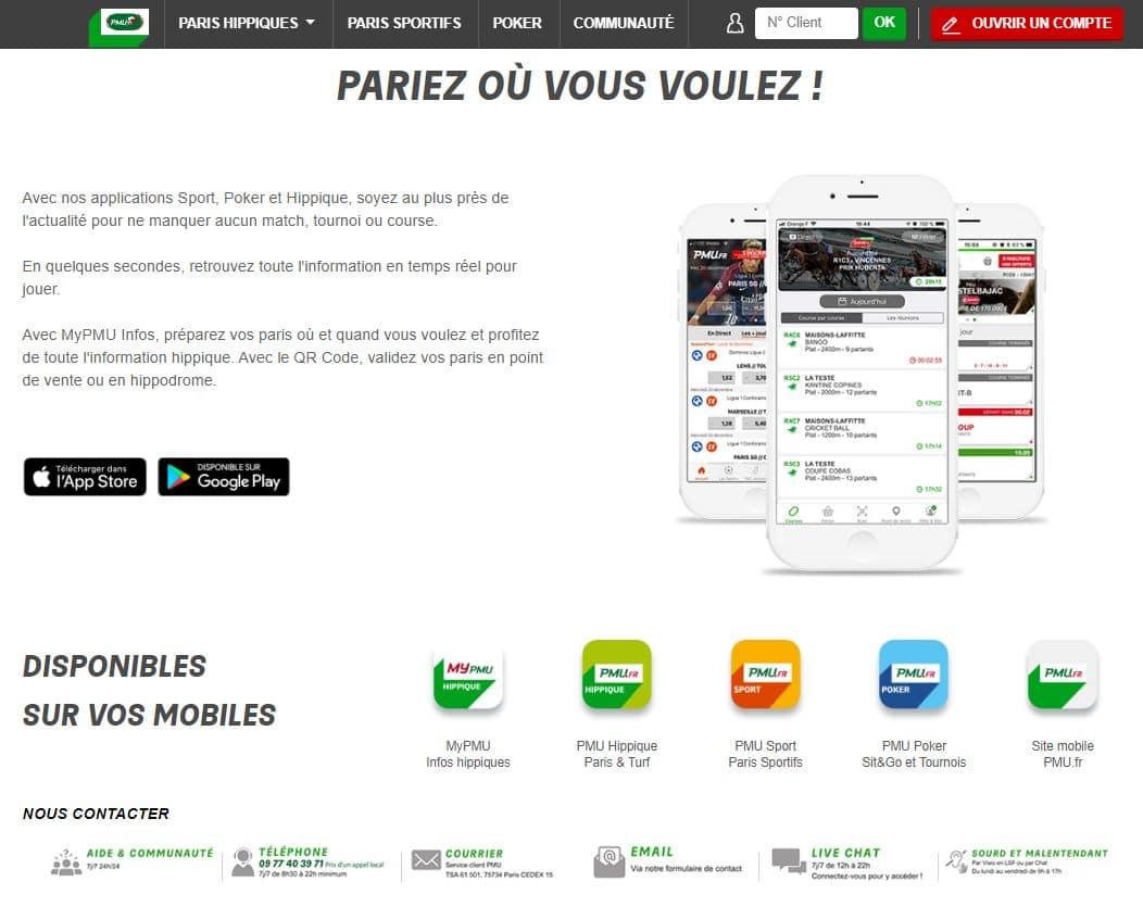 les différents paris disponibles sur pmu.fr